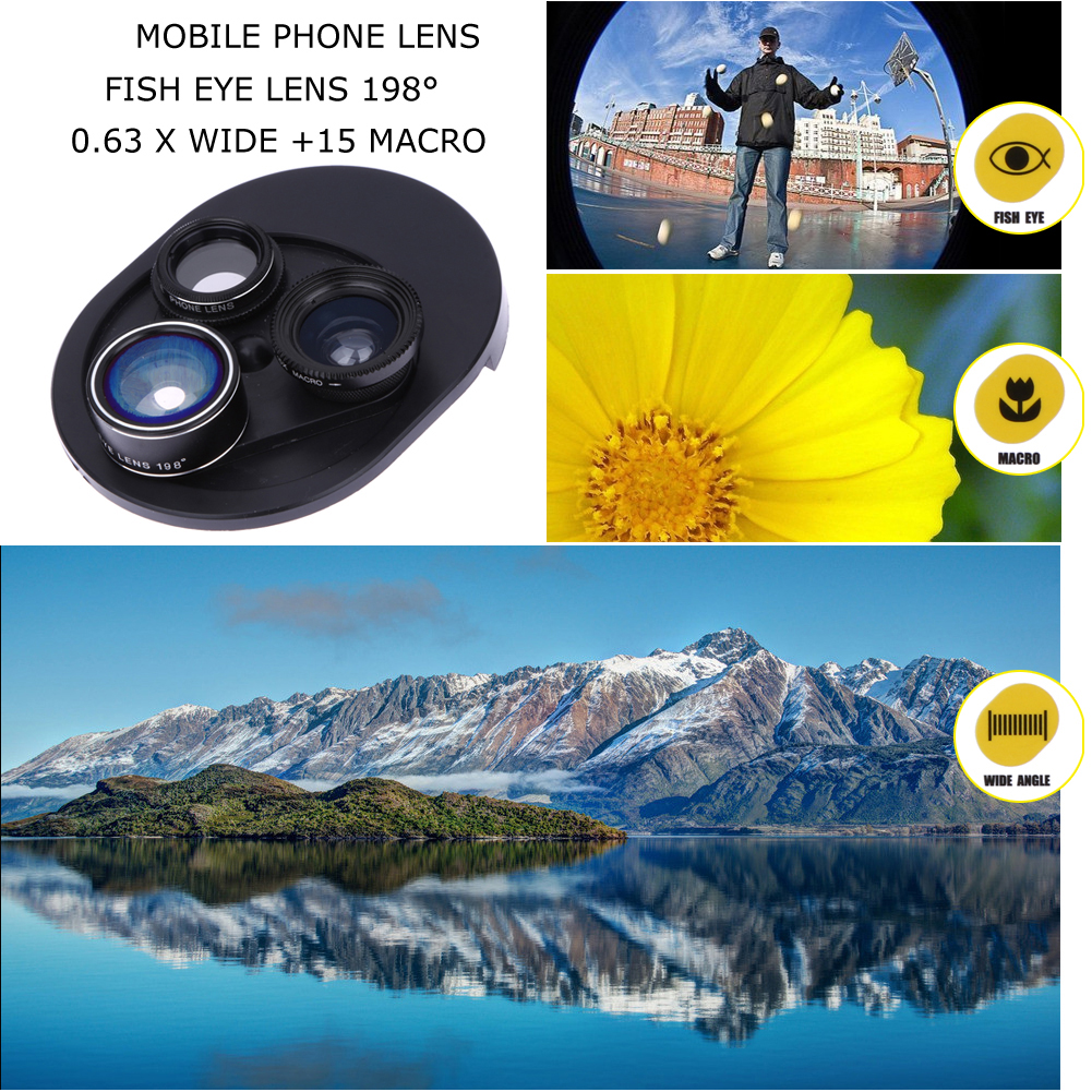 4 in 1 Cell Phone Clip-on Camera 198 Degree Fisheye Fish Eye Lens 0.63X Wide Angle 15X Macro Mobile Phone Lens Kit For iPhone 5