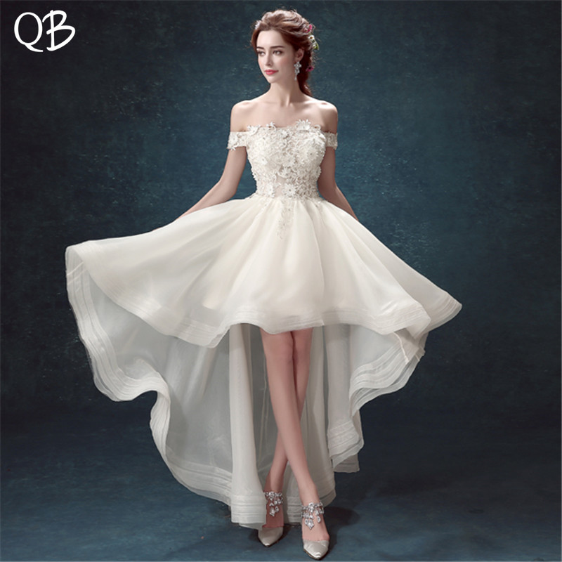 Sexy High Low Cap Sleeve Tulle Lace Flowers Crystal Short Wedding Dress 2020 New Fashion Bridal Dresses Wedding Gowns WE14