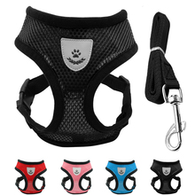 Nylon Vest Small Dog Harness Cat Fashion Padded Mesh For Lead Pet Puppy Kitten Leash Set Black S M