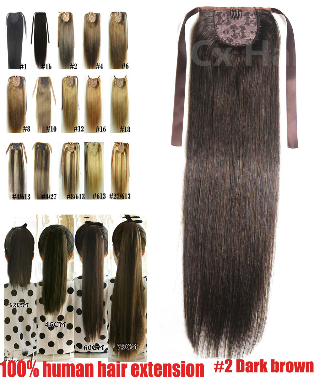 #2 Dark Brown16-3260g 80g 100g 120g140g brazilian remy human hair extension horstail ponytail Human hair clips in/on extension