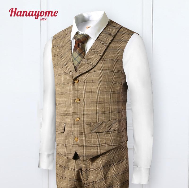 Yellow plaid fashion leisure gentleman style custom made Men's vest tailor Blazer vests for men 2 piece (Pants+Vest) SI79