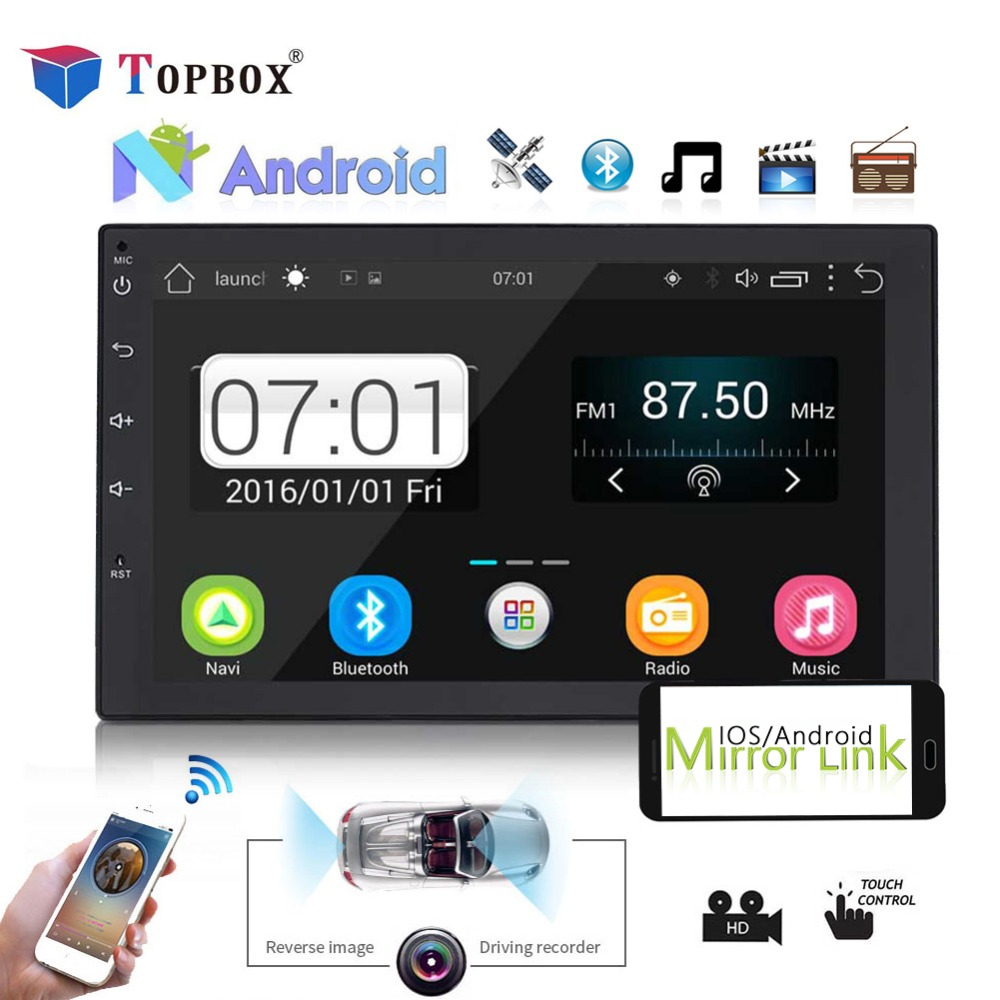 Topbox 2 din android 8.0 Universal Car Radio GPS Navigation Bluetooth Car Audio Stereo FM USB Car Multimedia MP5 No DVD Player podofo 2 din 7 touch android 8 0 universal car radio audio gps navigation bluetooth car stereo fm usb car multimedia mp5 player