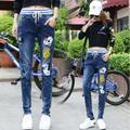 Pantalones vaqueros de Las Mujeres de Mickey Mouse De Impresión De Alta Cintura Jeans Para Niñas Estiramiento Skinny jeans cintura elástica de Gran Tamaño