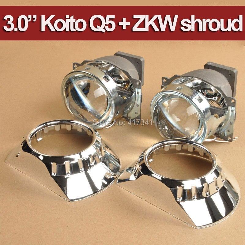Car Projector Headlight LHD 2PCS 3 inches Koito Q5 Bi xenon hid projector lens D1S D2S D3S D4S + E46 ZKW Projector Cover