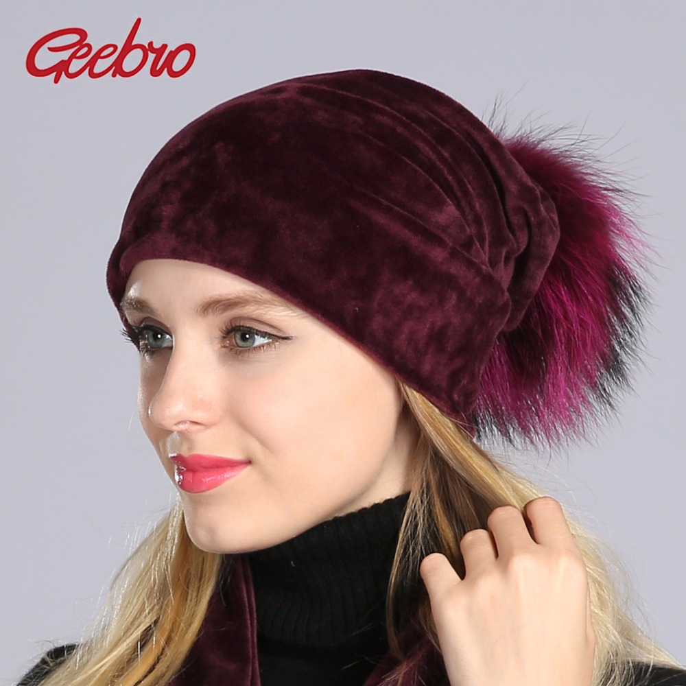 Geebro Women's Pom Pom Beanie Hat Casual Velvet Skullies Beanies Polyester Knitted Hats Warm Raccoon Fur Pompom Beanies Hat