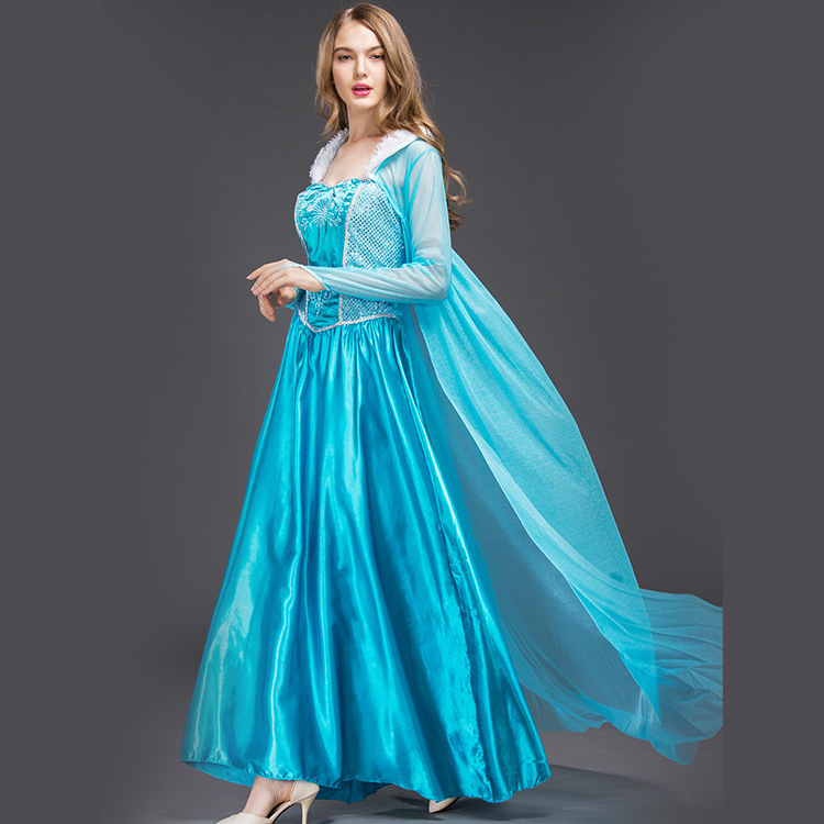 Snow Queen Princess Anna Made Cosplay Costume For Adult Womens With Cloak Coronation Carnival high quality princess elsa dress