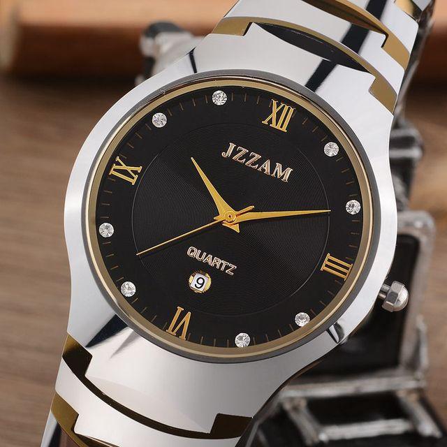 b4efe85e9 Jzzam الفاخرة ماركة الساعات الكلاسيكية الرجال التنغستن الصلب ساعات الكوارتز  حجر الراين ساعة اليد الأزياء الأنيقة