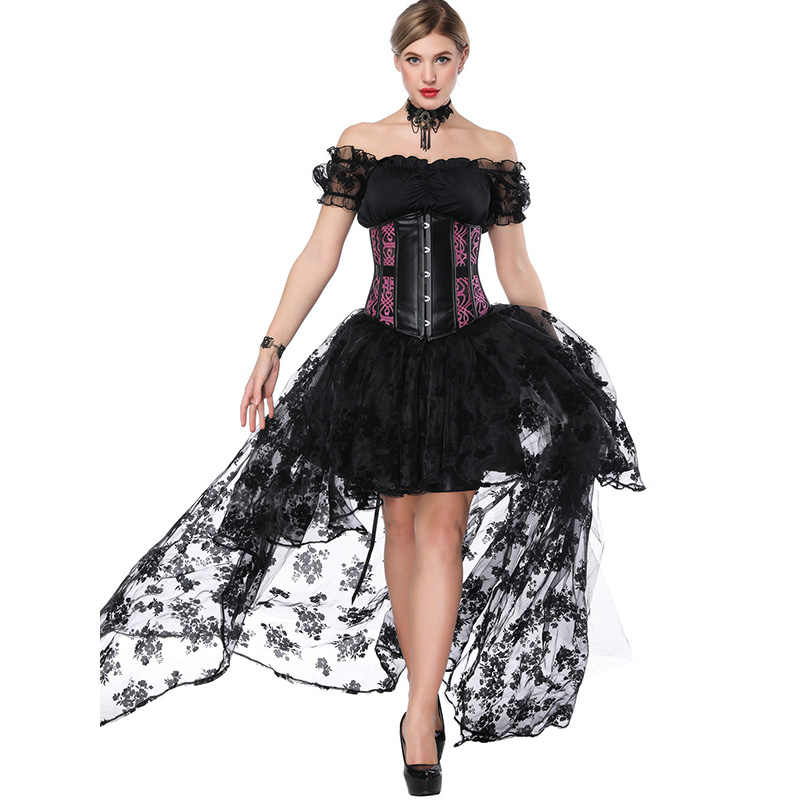 ce85b429b10 ... Women Sexy Gothic Victorian Steampunk Corset Dress Leather Overbust  Corsets And Bustiers Lace Black Wedding Party ...