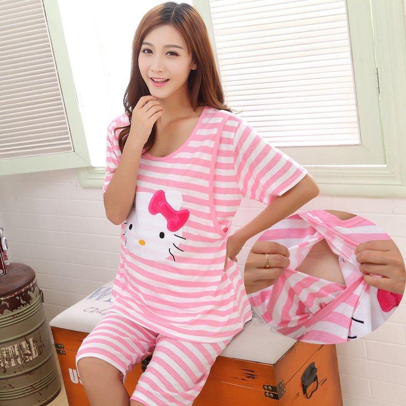 Dollplus Pregnant Women Summer Cotton Short Sleeve Pajamas Cartoon Nursing Tees+elastic Waist Pants Twinset Breastfeeding