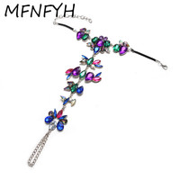 MFNFYH 2017 Bohemian Crystal Flower Statement Anklet Sexy Women Foot Jewelry Leg Bracelet Ankle Summer Beach
