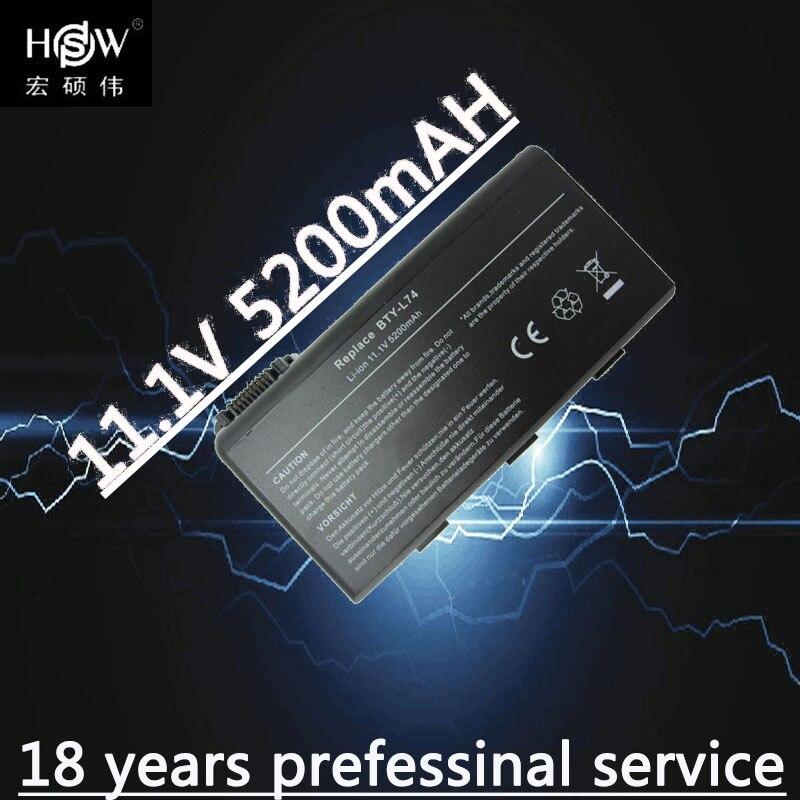 HSW 5200mAh Battery For MSI BTY-L74 BTY-L75 A6203 A6205 A7200 CR600 CR610 CR610X CR620 CR630 CR700 CX600 rechargable battery 11 1v 9 cells bty l75 bty l74 laptop battery for msi cx600x cr610 cr620 cr700