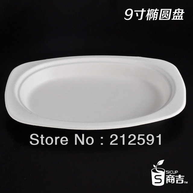 One off Paper Oval White Dish Disposable Cane Plate Food Tray ...