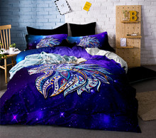 Bedding Set Psychedelic Lion Duvet Cover with Pillowcase Blue and Red Bed 3pcs Watercolor Bedclothes