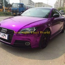 Лучшее качество, растягивающаяся Хромовая фиолетовая виниловая пленка, автомобильная пленка без пузырей, Размер: 1,52*20 м/рулон(5 футов x 65 футов