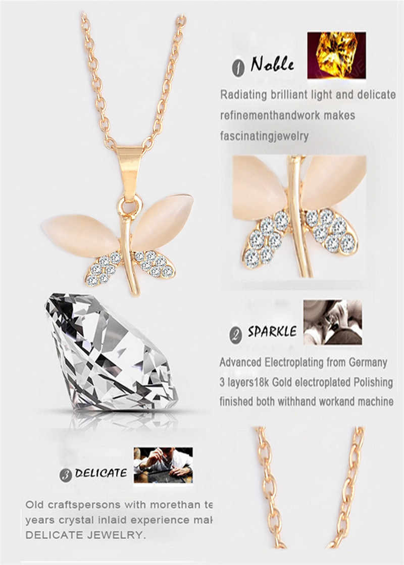SHUANGR Natural Stone Butterfly Jewelry Sets For Women Gold-color Chain Champagne Pendant Necklace Earrings bijoux femme