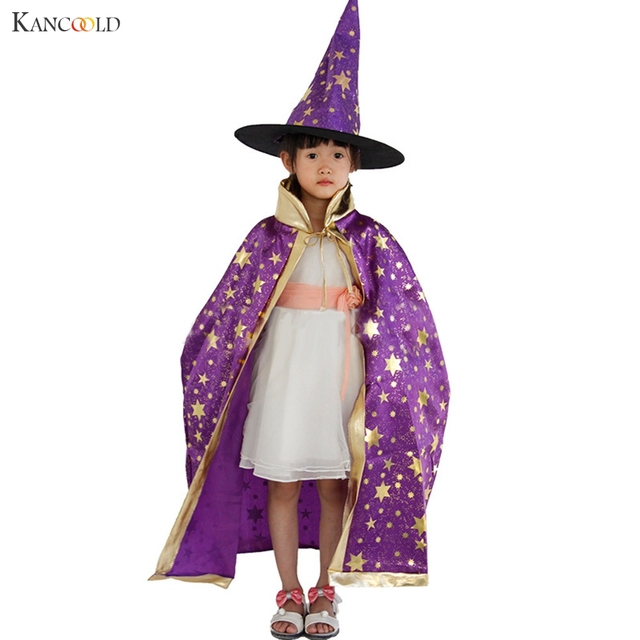 Newly Fashion Children Christmas Halloween Witch Wizard Cloak Gown Robe and Hat Cap Enchanter Stars 6 Fancy Character AU073