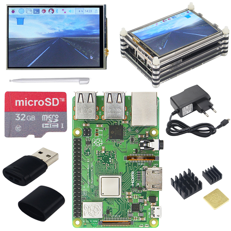 Raspberry Pi 3 Model B Starter Kit 3 5 inch Touchscreen 9 layer Acrylic Case 16