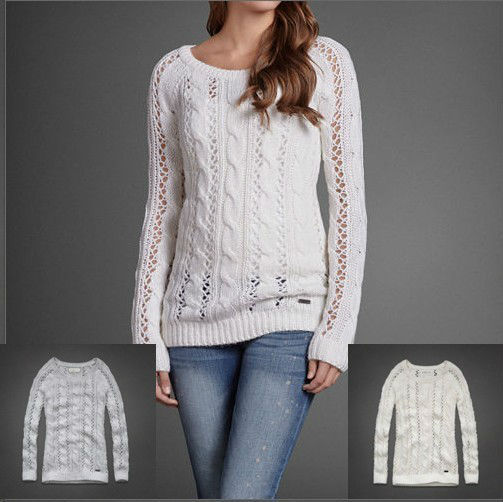 2013 new female wild solid color sweater round neck pullover sweater hollow spring epidemic