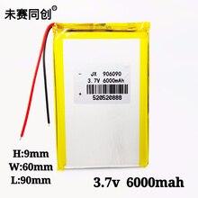 цена на 3.7V High Capacity Polymer Lithium Battery 6000mAh 906090 DIY Mobile