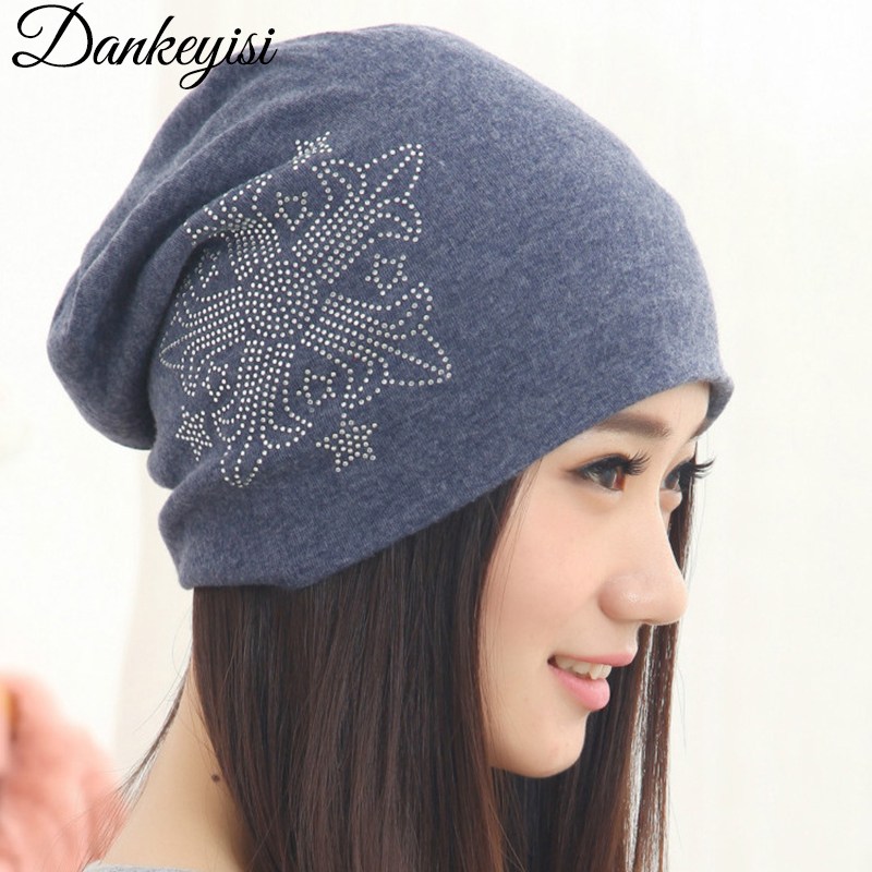 DANKEYISI Winter Hats For Women New Solid Cotton Knitted Vogue Brand Casual Warm Hat Female   Skullies     Beanies   Bonnet