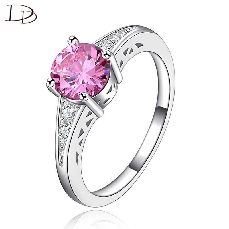 Χαριτωμένο ροζ Αυστριακή κρυστάλλινα δαχτυλίδια για τις γυναίκες 925 στερλίνα-ασημένια κοσμήματα ρομαντικό γάμο Anillos Bijoux Femme χονδρικής DD126