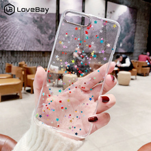 Lovebay Colorful Star Bling Glitter Phone Case For iphone X Clear Back Cases Cover XS Max XR 6 6S 7 8 Plus