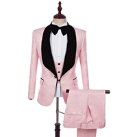 2017 Brand Pink Mens Floral Blazer Designs Blazer Slim Fit Suit Jacket vest Pant Men Wedding Tuxedos Fashion best man Suits