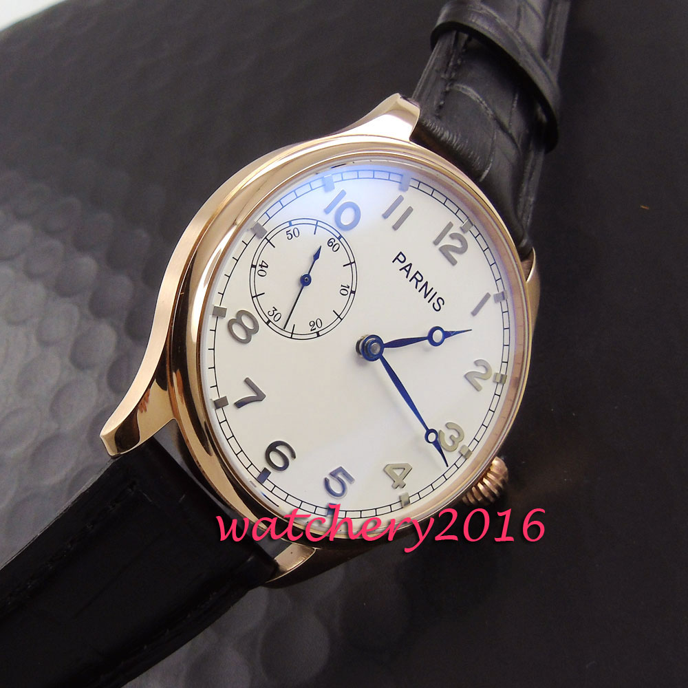 Luxury Brand parnis 44mm white dial Rose golden case Leather strap 17 jewels 6497 hand winding movement mens WatchLuxury Brand parnis 44mm white dial Rose golden case Leather strap 17 jewels 6497 hand winding movement mens Watch