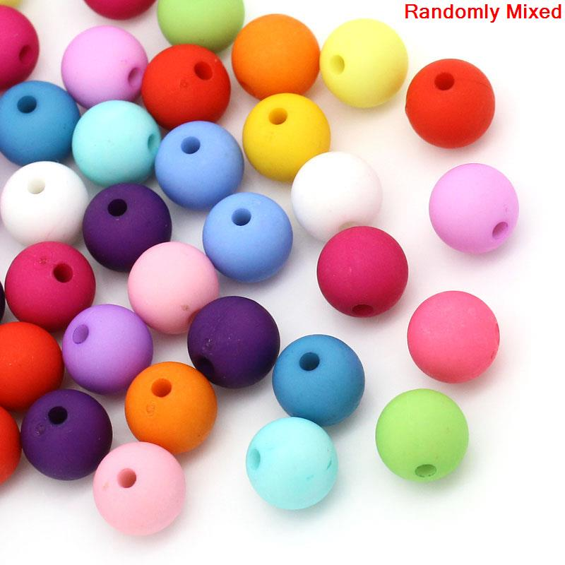 8SEASONS Acrylic Spacer Beads Round Ball Mixed 10mm Dia,Hole:Approx 2mm,100PCs (B27602)