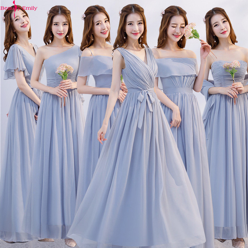 Long Pink Simple   Bridesmaid     Dresses   2019 A-Line Sleeveless Boat Neck Chiffon   Dress   for Wedding Party Robe Demoiselle D'honneur