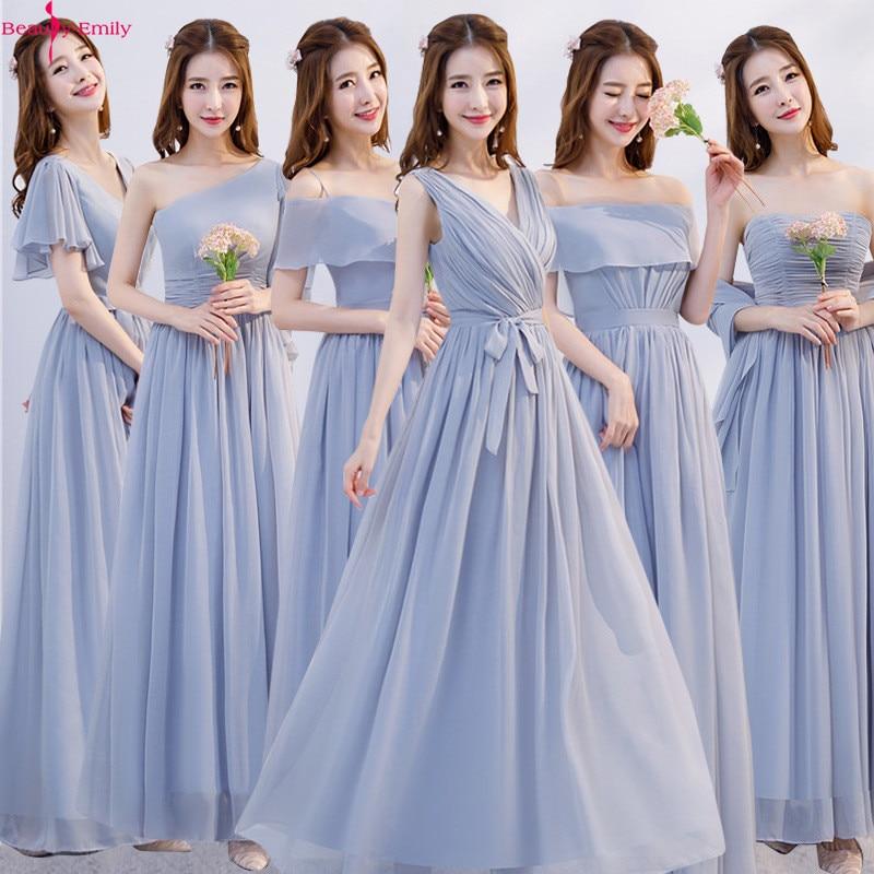 Longues robes de Demoiselle D'honneur simples rose 2019 a-ligne sans manches col bateau Robe en mousseline de soie pour Robe de mariée Robe Demoiselle D'honneur
