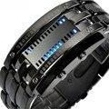 2017 New Luxury Men's Women Black Stainless Steel Date Digital LED Bracelet Sport Watches