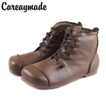 Careaymade-Genuine Leather Warm boots,Pure Handmade Ankle Boot,The Retro Art Mori Girl Shoes,Fashion Retro Matting Woman Boots