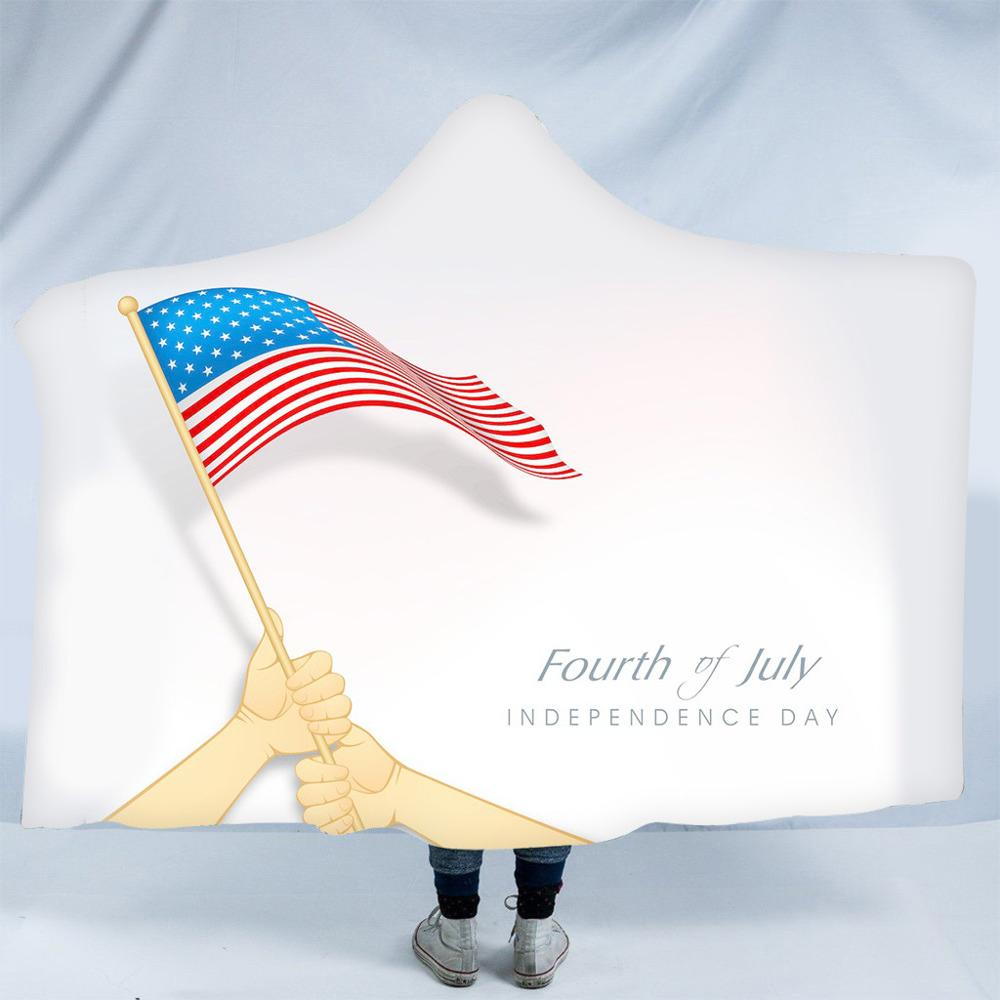 American Independence Day Plush Hooded Warm Blanket cloak <font><b>150</b></font> cm x <font><b>200</b></font> cm flannel Dressing Hooded Blanket Magic hat Nap blanket image