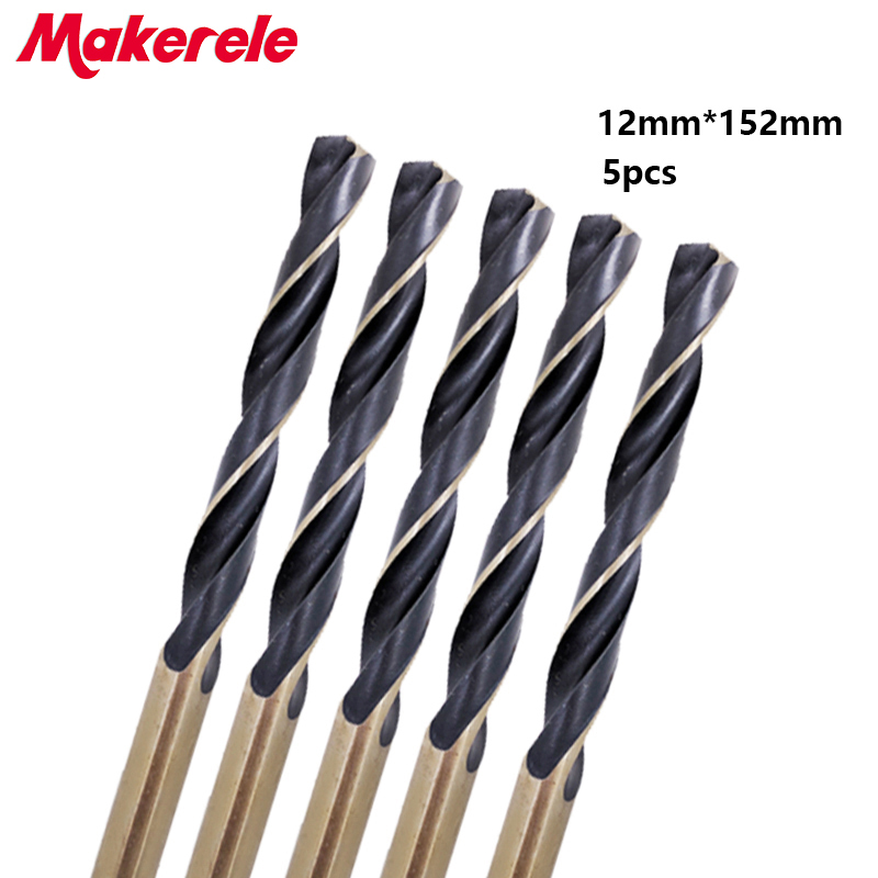 Hot 5pcs/box 12mm bits Straight Shank HSS/High Speed Steel Twist Drill Bit Woodworking Tools For Metal 10pcs 0 7mm twist drill bits hss high speed steel drill bit set micro straight shank wood drilling tools for electric drills