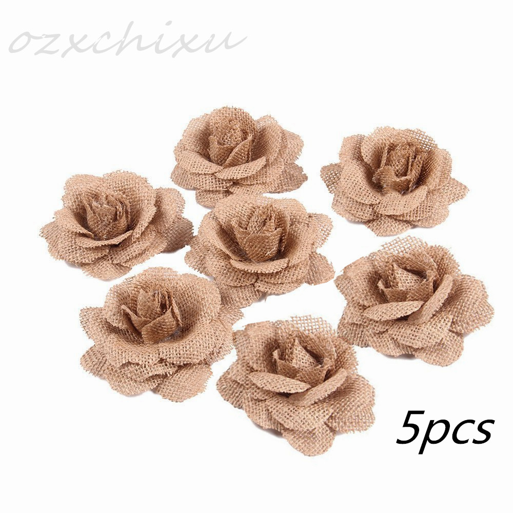 Tegg Burlap Flowers 6PCS 6 Styles Natural Jute Lace Ribbon Handmade Rose for DIY Crafts Wedding Christmas Party Decoration