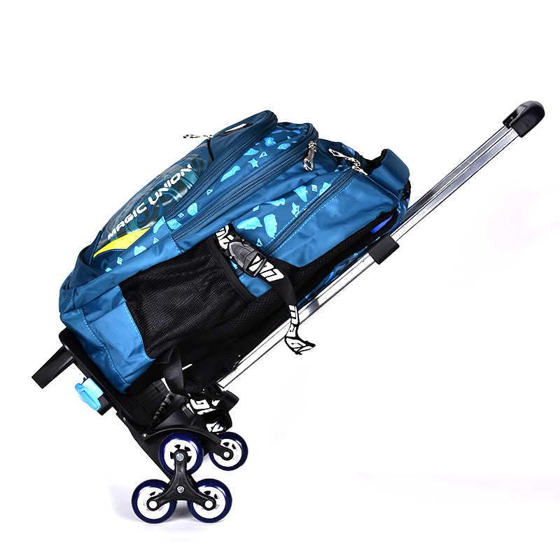 BAIJIAWEI дети тележка рюкзак обувь для мальчиков девочек колесных школьный рюкзак водонепроницаемые нейлоновые рюкзаки подростков
