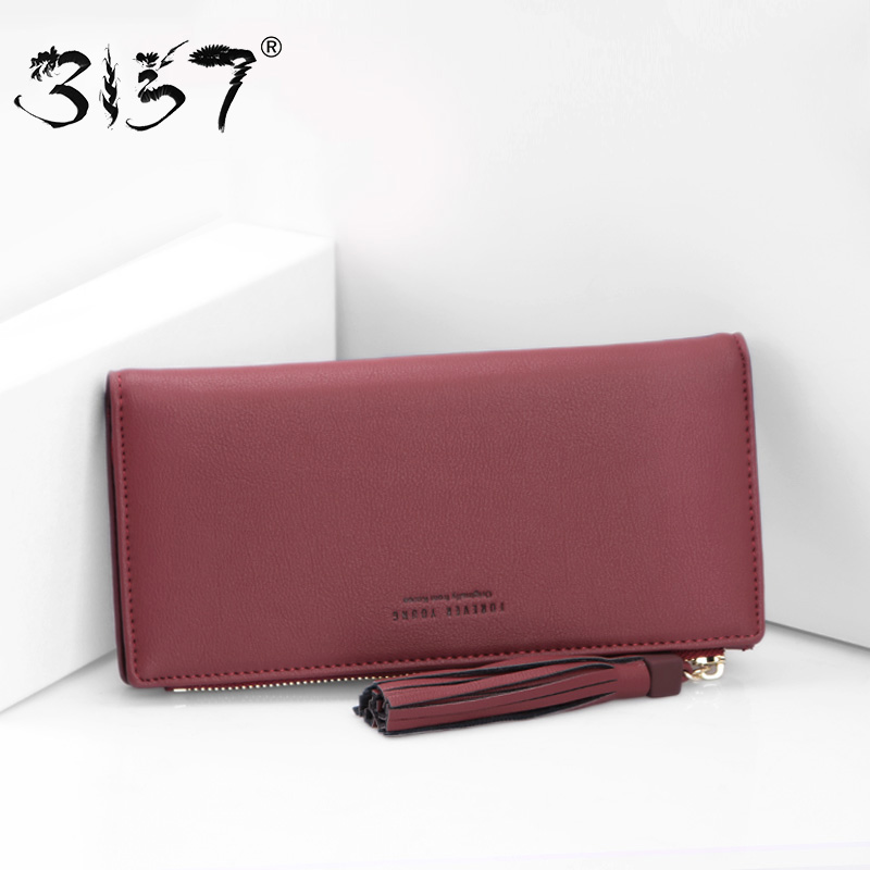3157 Women Wallet Tassel Leather Small Clutch for Girls Women Wallets and Purses Lady Credit Cards Coin Pocket Female Purse hnxzxb tassel pendant design small clutch wallets for women coin purses card holders invoice pocket pu leather female lady bag