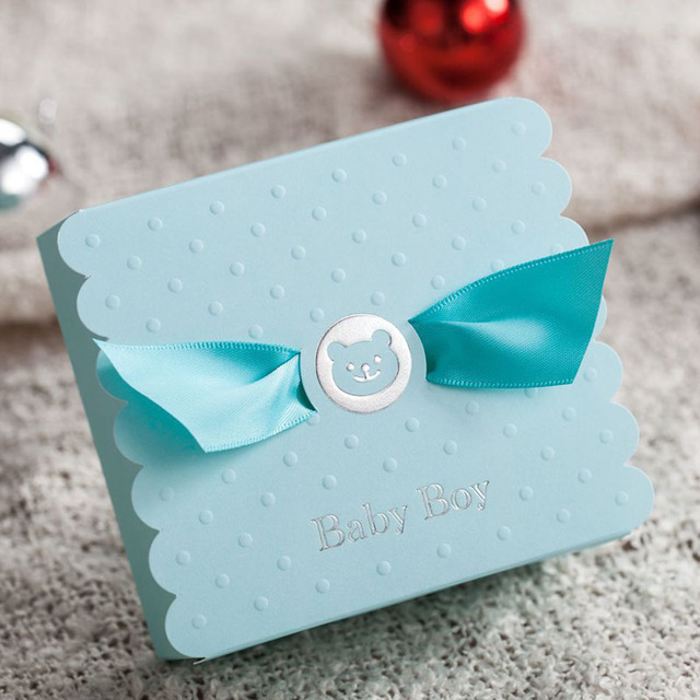 50pcs Blue Baby Boy Candy Box Baby Shower Souvenirs Wedding Decoration  Wedding Gifts For Guests Favors