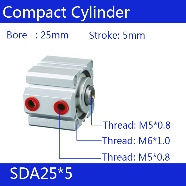 SDA25*5 Free shipping 25mm Bore 5mm Stroke Compact Air Cylinders SDA25X5 Dual Action Air Pneumatic Cylinder 5% 25