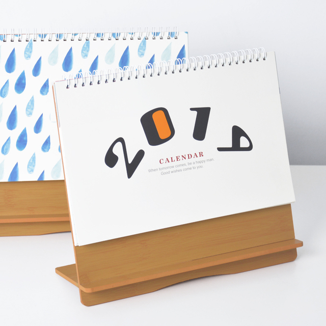2019 Cute Animal Flower Wooden Calendar Diy Table Desk Calendars