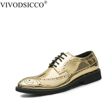 VIVODSICCO New Black Gold Bright Patent Leather Mens Formal Carving Brogue Man Office Party Wedding Dress Shoes Bullock oxfords