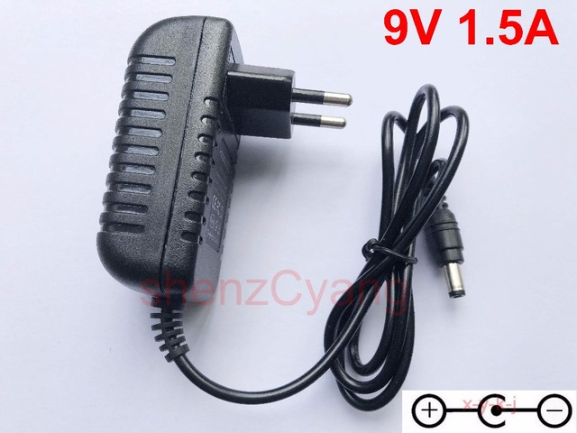 100PCS High quality AC/DC 9V 1.5A Switching Power Supply adapter Reverse Polarity Negative Inside EU plug 5.5mm x 2.1mm 2.5mm