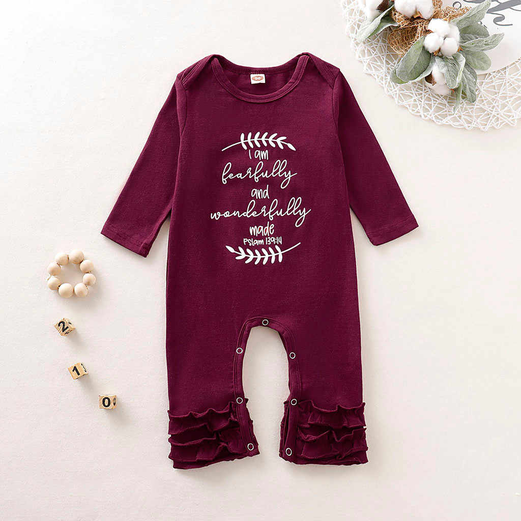 Niños pequeños bebé niño Soild carta volantes manga larga mameluco ropa Infantil disfraz recién nacido algodón Pelele de lino 2019