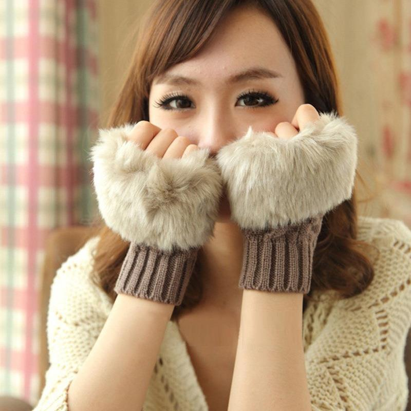 New Winter Women Arm Warmer Gloves Fingerless Gloves-Knitted Faux Fur Mitten Fur Knitted Trim Wrist Rabbit Glove