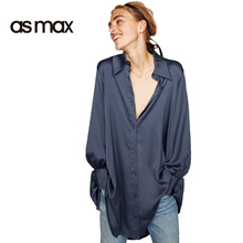 AS MAX Woman Blue Satin Shirt Style  Button Down Asymmetric Long Shirt Ladies Blouse Fashion Blouses Casual Loose Tops