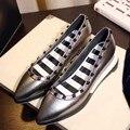 Women Genuine Leather Platform Wedges Shoes Pointed Toe Slip On Black Silver Solid Color Rivets Comfort Fashion 2017 Spring New