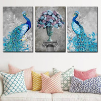 3 Panels Pop Animals Canvas Wall Art Peacock Flower Printed Painting Framed Modern Blue Gray Giclee Home Decor Wedding Gift