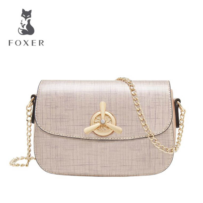 2018 New FOXER brand women leather bag high quality fashion chains women shoulder messenger cowhide Simple small bag 2018 new foxer brand women leather bag high quality fashion chains women shoulder messenger bag cowhide black simple small bag