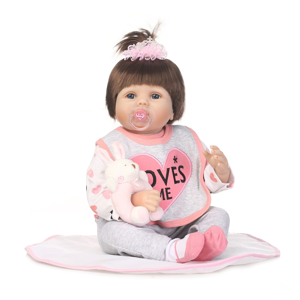 """Baby doll reborn toys for children 22""""55cm soft silicone reborn baby dolls rooted hair child play house toys Bebes reborn"""